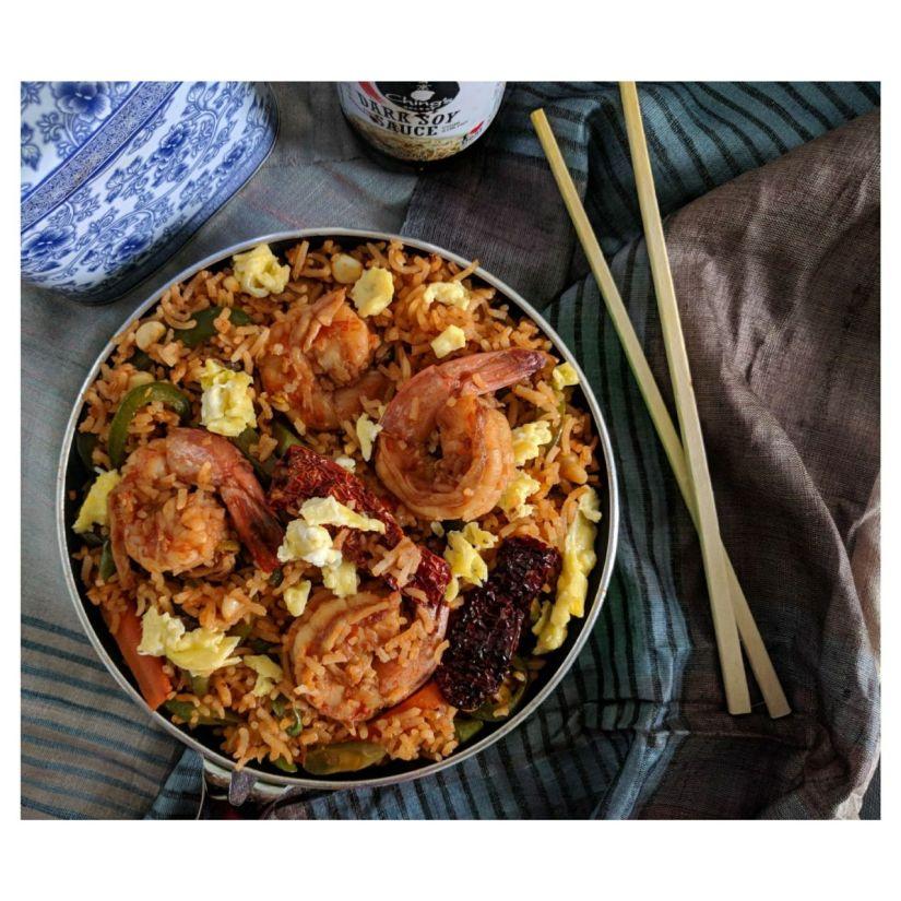 Indo-Chinese Shrimp FriedRice